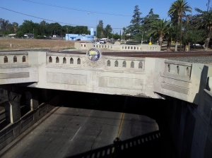 SP Belmont overpass East side rail